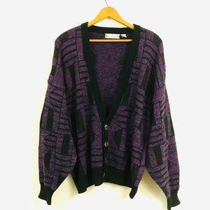 Vtg 80s 90s purple chunky grandpa sweater cardigan